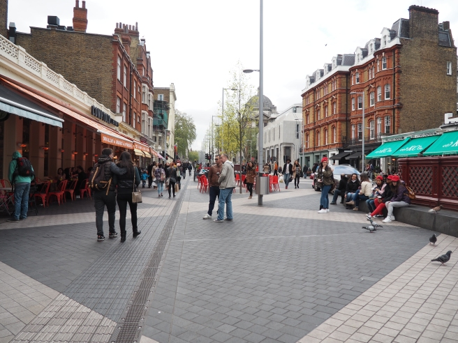 London's Exhibition Road Shared Street mixes low volumes of slow moving vehicular traffic with people walking and cycling