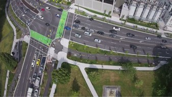 Protected Intersection at Burrard and Cornwall St in Vancouver (Image Source: City of Vancouver)