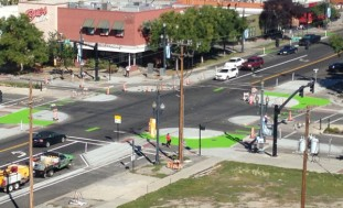 Salt Lake City Protected Intersection at 300 South & 200 West (Image Source: City of Salt Lake City)