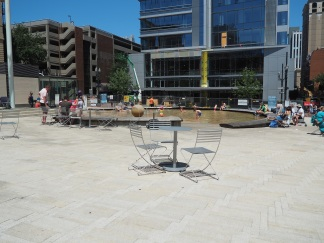 Portland's Director's Park is one of the best examples of a well designed public space. In addition to the many activities that include a wonderful splash park, movable chairs, the space is surrounded by buildings with ground floor retail.