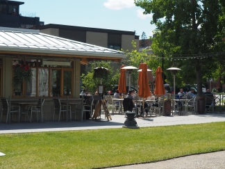 Calgary's memorial park is another great example of a public space done well. The Boxwood Cafe anchors one corner of the space which serves to draw people into the space.