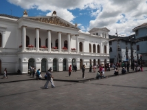 Quito's Plaza Del Teatro is often very full, exciting and engaging. Aside from seating, there are little activities except for the fine grain commerce that wrap the plaza.